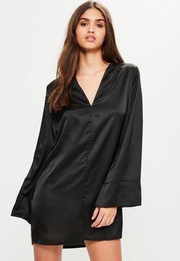 Black Satin V Neck Oversized Cuff Dress