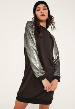 Grey Sequin Sleeve Oversized Jumper Dress