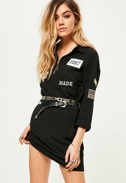 Robe noire oversize avec badges