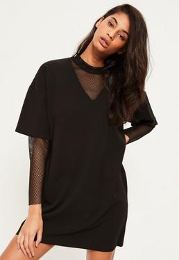 Black Fishnet Sleeve Insert Shift Dress