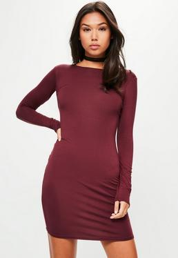 Burgundy Jersey Bodycon Mini Dress