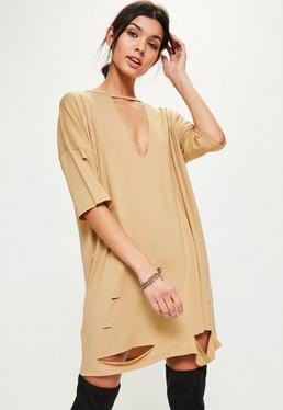 Camel Choker Neck Plunge T-Shirt Dress