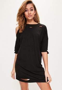 Black One Shoulder Distressed T Shirt Dress