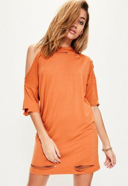 Orange One Shoulder Distressed T Shirt Dress