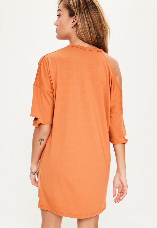 robe t shirt orange paule d nud e style destroy missguided. Black Bedroom Furniture Sets. Home Design Ideas