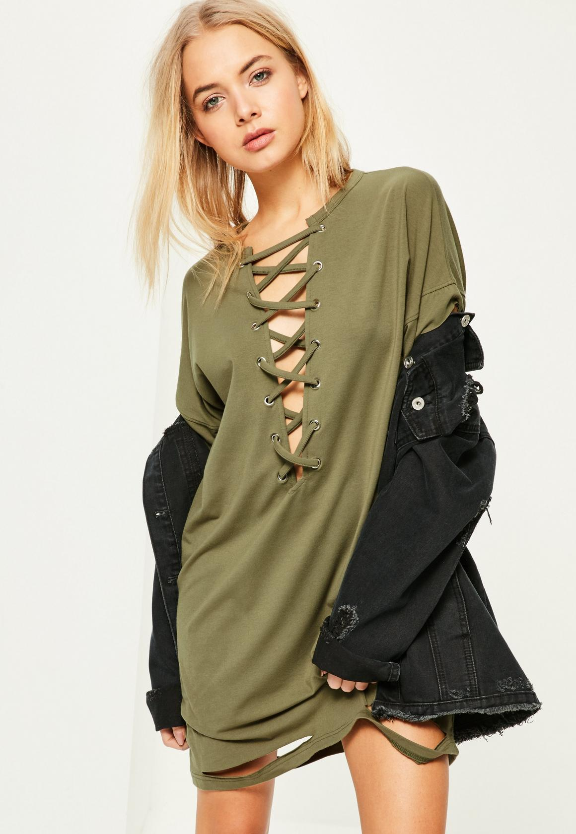 Khaki Lace Up Distressed T Shirt Dress | Missguided