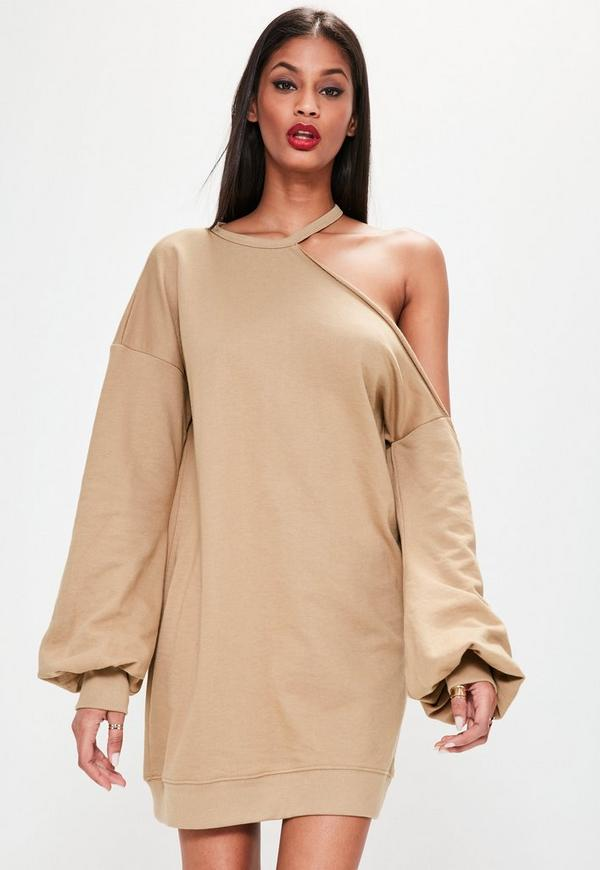 camel one shoulder balloon sleeve sweater dress