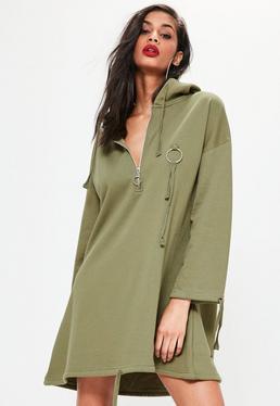 Robe-sweat vert kaki à capuche et anneau métallique