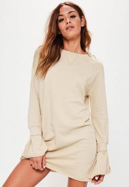 Vestido Sweater con Mangas Acanaladas en Crema