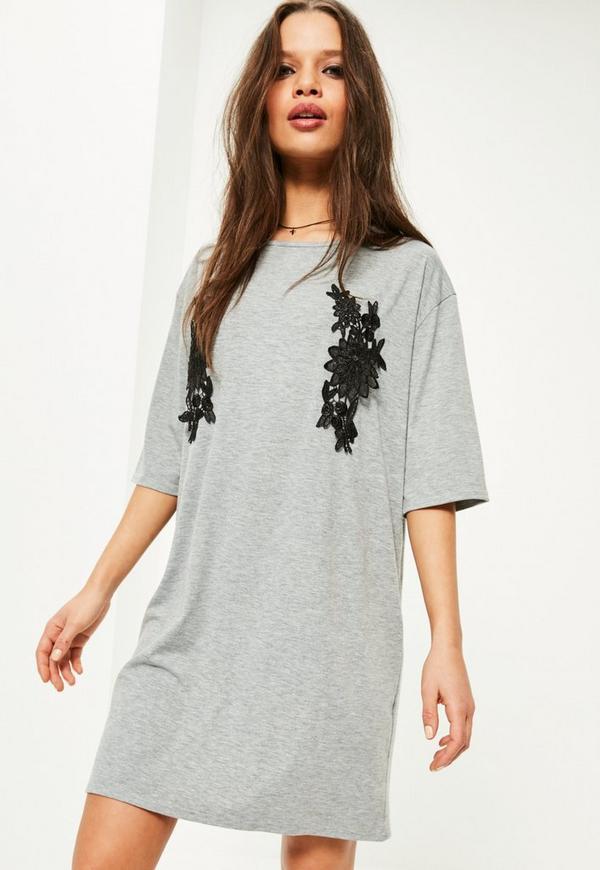 Grey Applique Detail T Shirt Dress