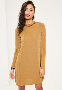 Nude Slinky Roll Neck Swing Dress