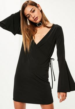 Black Tie Waist Flared Cuff Slinky Wrap Dress