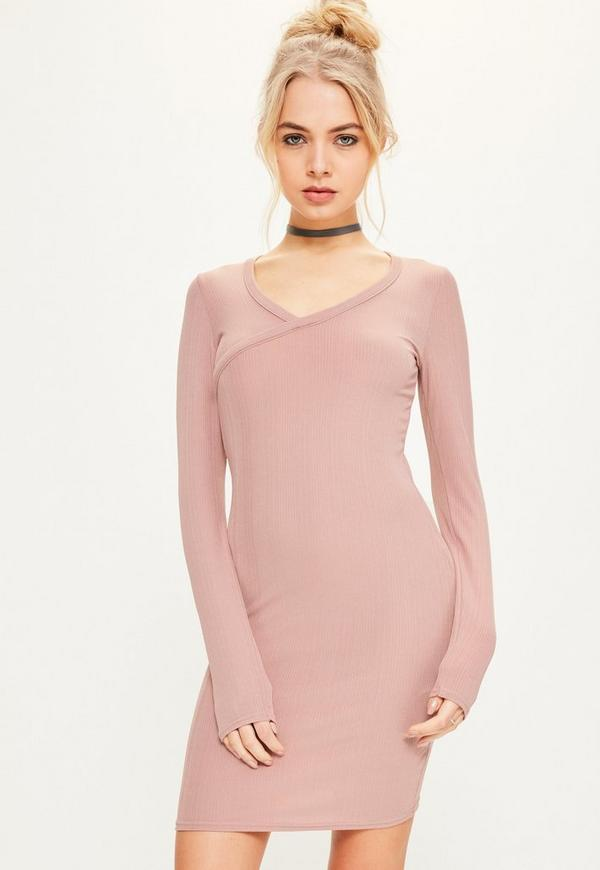 Pink Ribbed Cross Front Bodycon Dress