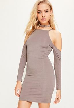Purple Cold Shoulder Slinky Bodycon Dress