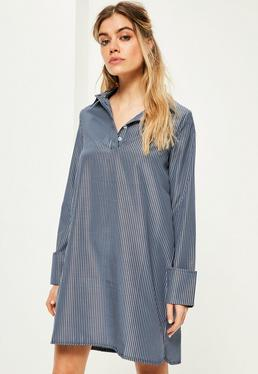 Navy Oversized Pinstripe Turn Back Cuff Dress