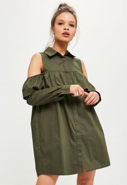 Khaki Cold Shoulder Ruffle Shirt Dress