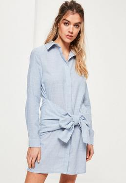 Blue Striped Tie Waist Shirt Dress