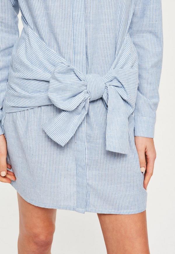 Blue striped tie waist shirt dress missguided australia for Striped tie with striped shirt
