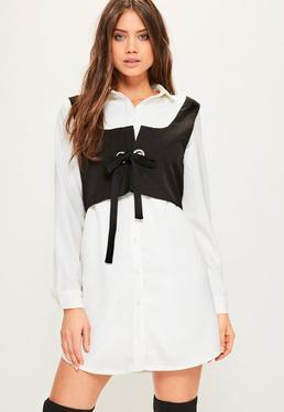 Biała koszulowa sukienka z ozdobną wszytą kamizelką