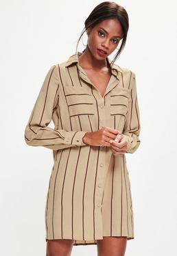 Karmelowa koszulowa sukienka w paski
