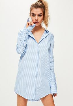 Blue Pinstripe Deep Turn Back Shirt Dress