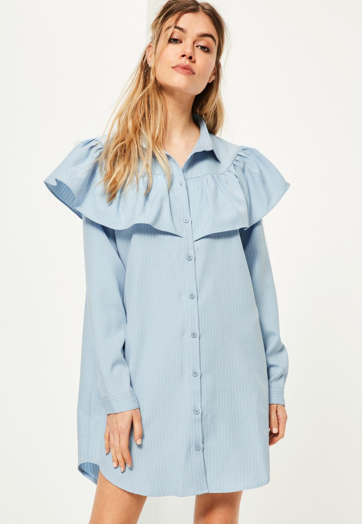 Blue Yoke Ruffle Detail Pinstripe Shirt Dress | Missguided