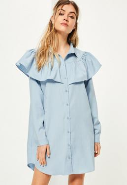 Blue Yoke Ruffle Detail Pinstripe Shirt Dress