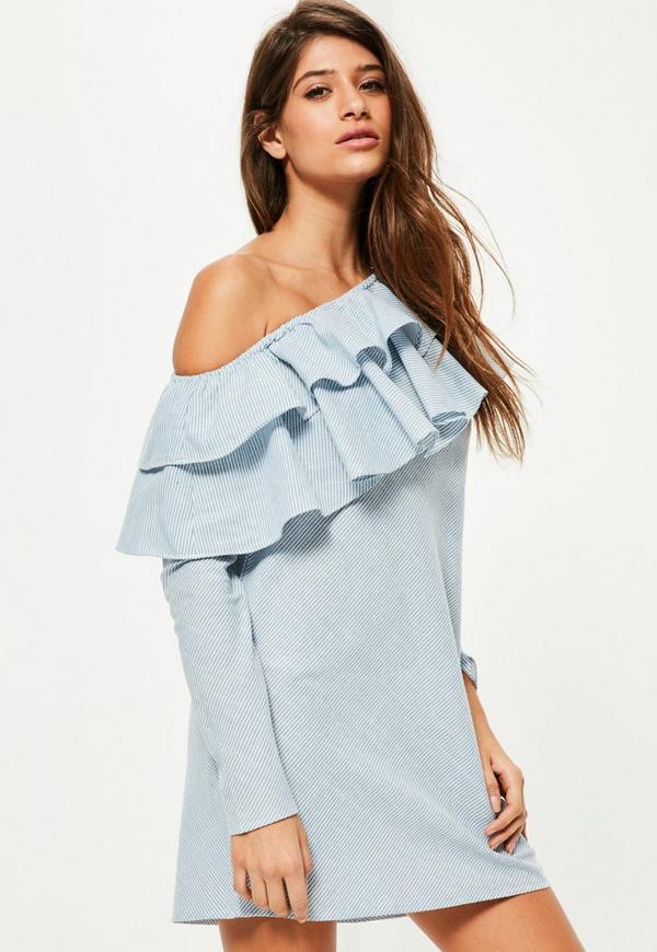 Blue One Shoulder Ruffle Long Sleeve Dress