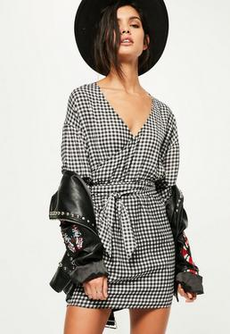 Black Gathered Sleeve Tie Waist Gingham Dress