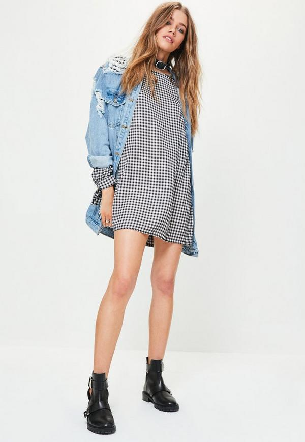 Robe-chemise vichy noire - Missguided
