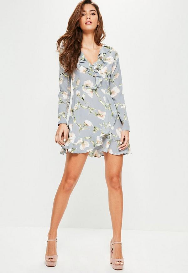 Blue Floral Ruffle Tea Dress Missguided