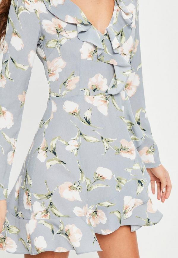 Blue Floral Ruffle Tea Dress Missguided