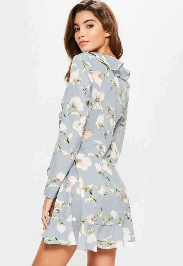 Blue floral ruffle tea dress missguided previous next mightylinksfo