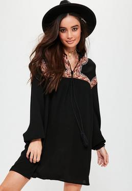 Black Oversized Embroidered Yoke Swing Dress