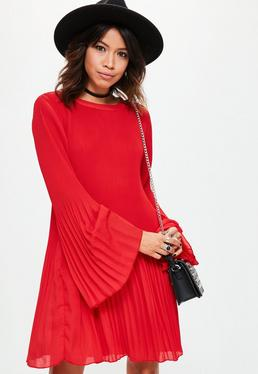 Red Pleated Swing Dress