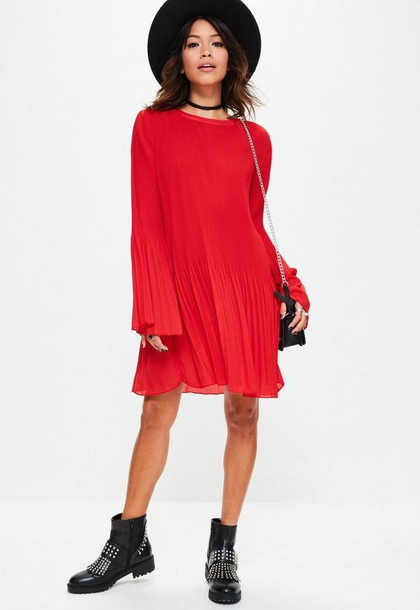 Red Pleated Swing Dress | Missguided