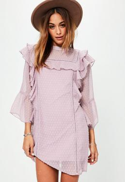 Pink Dobby Frill Front Dress