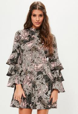 Pink Paisley Print Ruffle Sleeve Dress