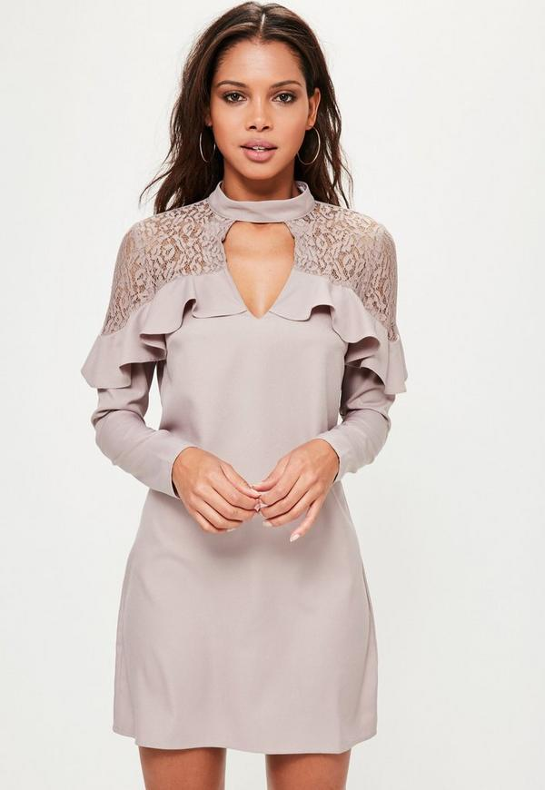 Pink Lace Detail Choker Ruffle Dress