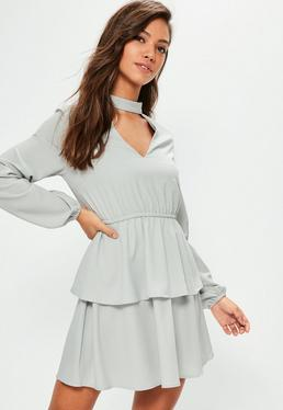 Grey Choker Neck Ruffle Waisted Dress