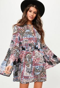 White Paisley Print Flared Sleeve Swing Dress