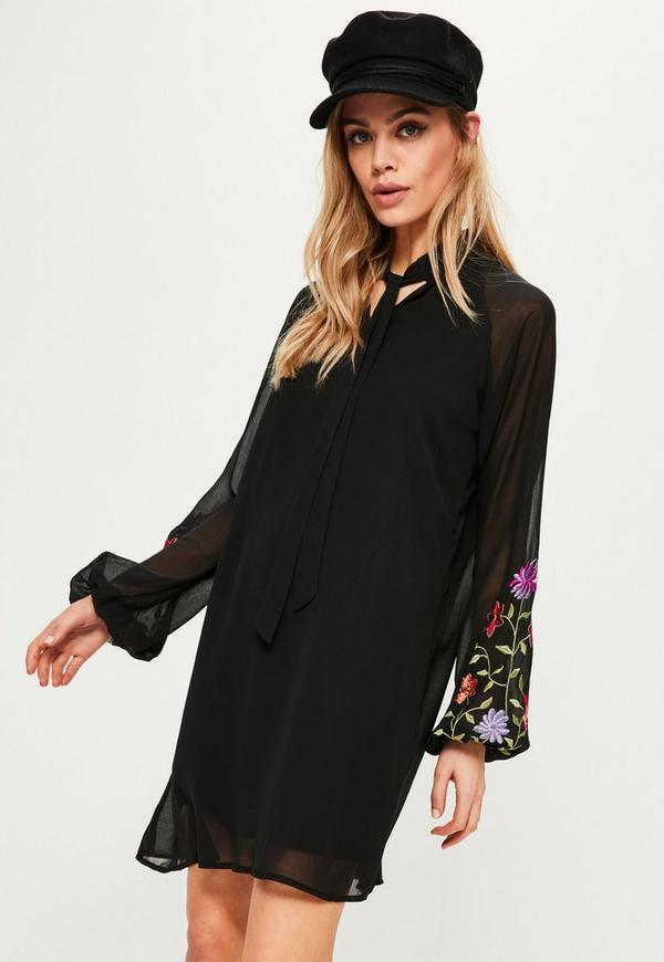 Black Embroidered Sleeve Tie Neck Swing Dress