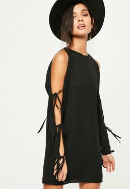 Black Tie Detail Cold Shoulder Shift Dress