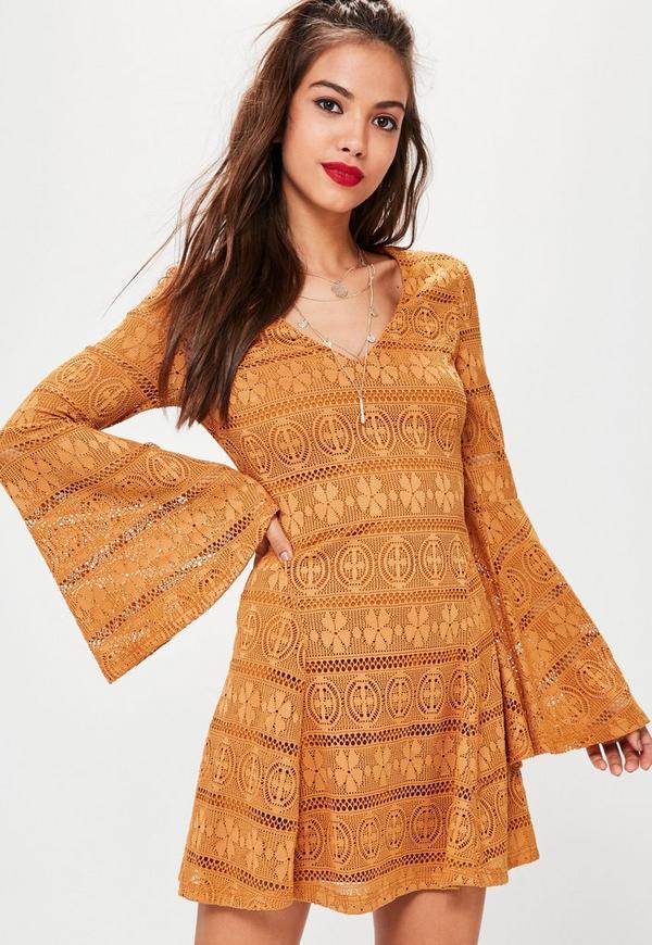 Orange Lace Flare Sleeve Dress