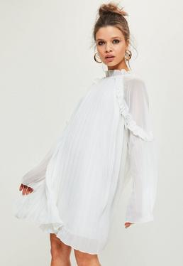 White Pleated Ruffle Swing Dress