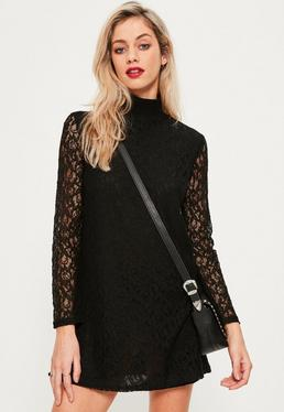 Black Rib Neck Lace Long Sleeve Dress