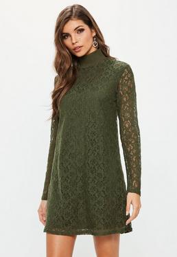 Khaki Rib Neck Lace Long Sleeve Dress