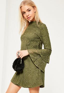 Khaki Layered Flared Sleeve Swing Dress