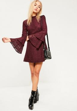 Burgundy Layered Flared Sleeve Swing Dress
