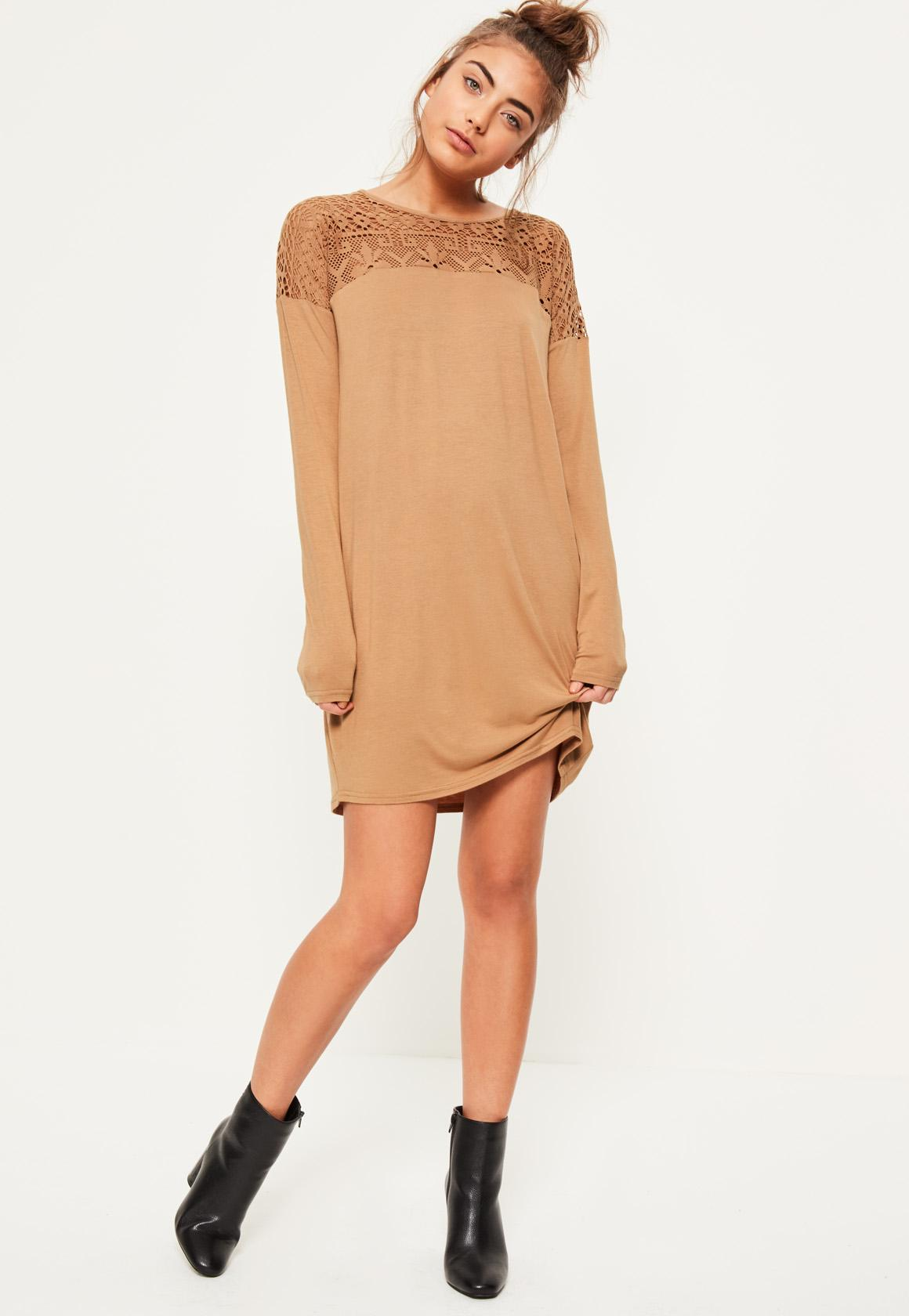 Camel Lace Insert Top Long Sleeve Dress | Missguided